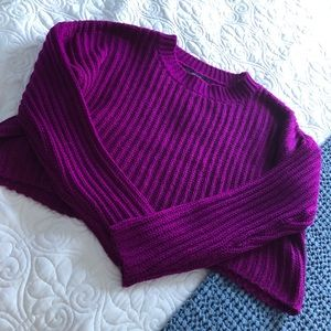 Bright purple cropped sweater
